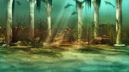an imaginary underwater scenery with sunken ruins