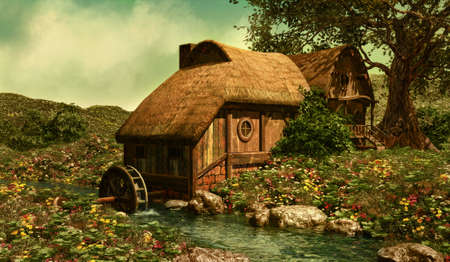a water mill on a flower meadow in the Shire