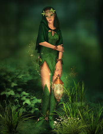 a deep forest fairy with a lantern in her hand