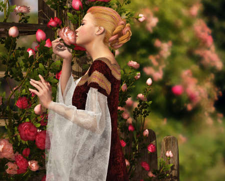 a lady in medieval garb smelling a rose