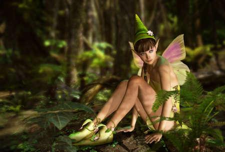 Photo pour 3d CG graphics jungle scene with charming fairy - image libre de droit