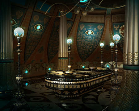 3d computer graphics of an interior in fantasy style with hieroglyphics on the wall and a sarcophagus in the middle of the room