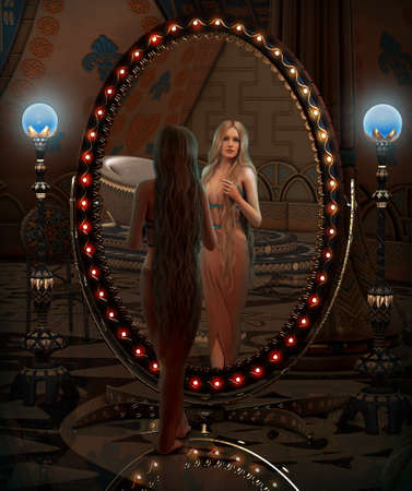 3d computer graphics of a young woman looking in a mirror
