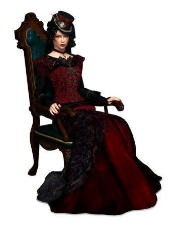 3d computer graphics of a lady with vintage clothing sitting in a armchair