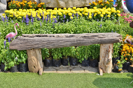 Log and flower ornament garden