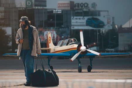 24th August 2019 - Aurel Vlaicu Airport, Bucharest, Romania - Homeless veteran returns to landed aircraft te revive memories. Shot during the Bucharest International Air Show