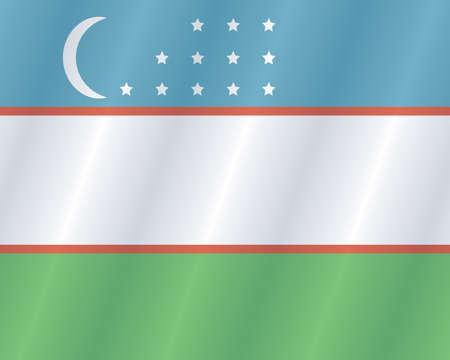 Uzbek places flag