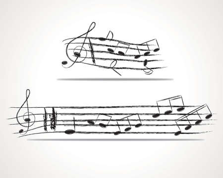 Various music notes on stave, illustration