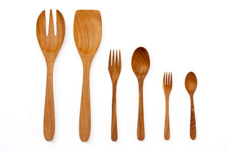 Wooden kitchen utensils and spatula and ladles