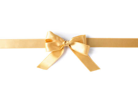 Photo pour Golden ribbon with bow isolated on white background. Gift concept - image libre de droit