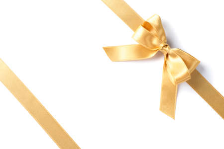 Photo pour Golden ribbons with bow isolated on white background. Gift concept - image libre de droit
