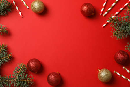 Photo pour Composition with Christmas accessories on red background, space for text - image libre de droit