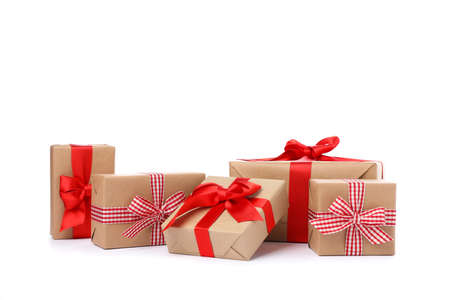 Photo for Group of beautiful gift boxes isolated on white background - Royalty Free Image