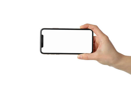 Photo for Female hand holding phone with empty screen, isolated on white background - Royalty Free Image