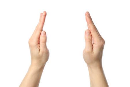 Photo for Female hands holds something, isolated on white background - Royalty Free Image
