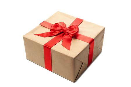 Foto für Beautiful Christmas box with bow isolated on white background - Lizenzfreies Bild