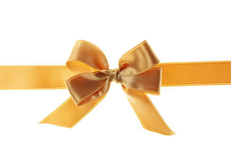 Photo pour Gold gift bow isolated on white background - image libre de droit
