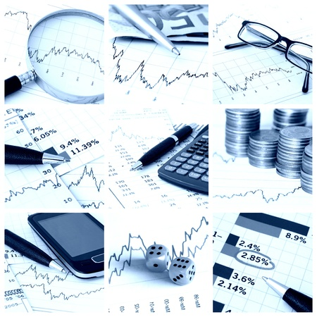 A collage of photos about finance theme - blue tone