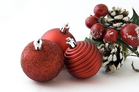 Christmas decoration with red balls and cones