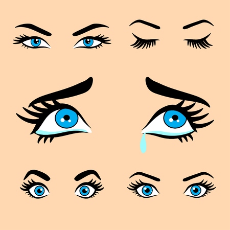 Beautiful women eyes with different expressions set 1. isolated decorative eyes icons. vector illustration of woman eyes. different eyes expressions. woman isolated vector eyes and eyebrows