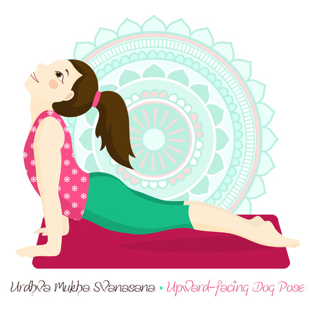 Cartoon Girl In Upward Facing Dog Pose With Mandala Background Hand Draw Illustration For Yoga Kids Girl In Urdhva Mukha Svanasana Cute Girl Doing Yoga Illustration For Children Yoga Tasmeemme Com
