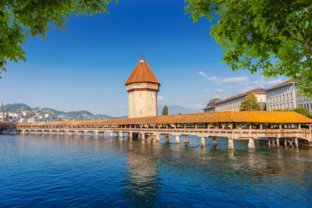Wooden Chapel Bridge during a late afternoon day in Luzern, Switzerland