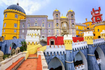 Colorful facade of Pena palace, Sintra, Portugal