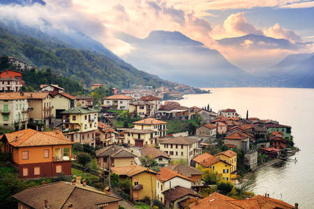 Photo pour View of Como Lake, Milan, Italy, on sunset with Alps mountains in background - image libre de droit