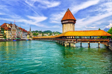 Lucerne, Switzerland, wooden Chapel Bridge and Water tower