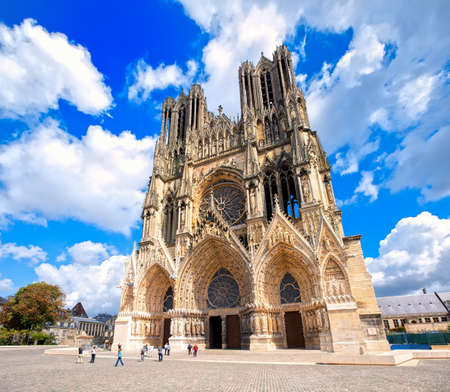 Notre Dame de Reims Cathedral, France, is one of the most important gothic cathedrals in Europe and UNESCO world culture heritage site