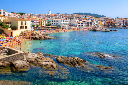 Calella de Palafrugell, traditional whitewashed fisherman village and a popular travel and holiday destination on Costa Brava, Catalonia, Spain