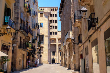 Old Barri Gotic quarter with Historical Museum building in Barcelona, Spain