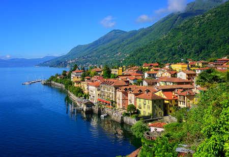 Historical tourist resort town Cannero Riviera on Lago Maggiore lake, Alps mountains, Italy