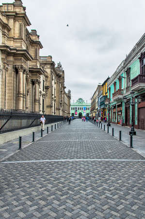 Photo for Colonial buildings at a street in downtown Lima, Peru. - Royalty Free Image