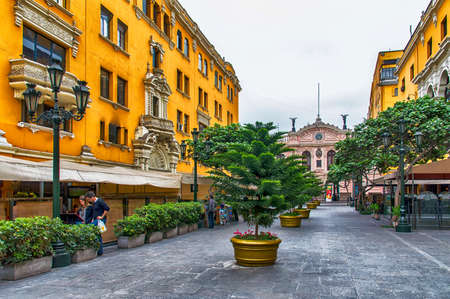 Photo for Lima, Peru - November 01, 2015: Jiron de la Union; a pedestrian only street in the historic centre of Lima. The street is lined with old historic buildings and colonial architecture. The street dates back to 1535 when it was designed by Francisco Pizarro, - Royalty Free Image