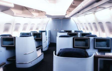 Photo pour Airplane cabin business class interior view. - image libre de droit