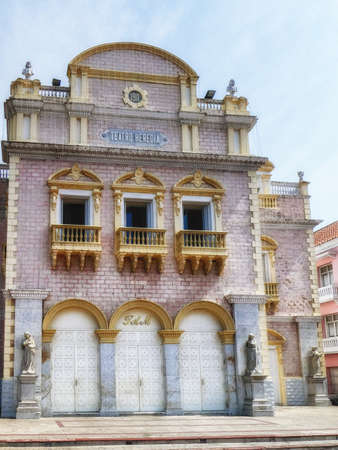 Facade of the historic Heredia Theatre in the Spanish Colonial city of Cartagena de Indias in Colombia. Built in 1911.