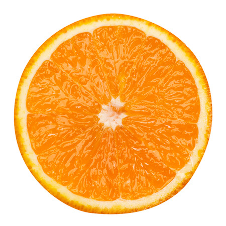 slice of orange fruit isolated clipping path