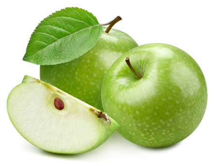 Photo for Two green apple and slice with green leaf. Organic fresh apple isolated on white. Full depth of field - Royalty Free Image