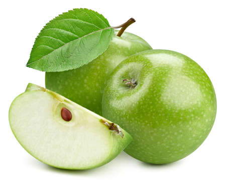 Photo for Fresh organic green apple isolated on white background. - Royalty Free Image