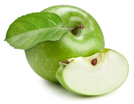 Photo for Green apple with leaves. Apple isolated on white background. - Royalty Free Image