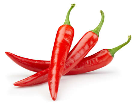 Foto für Peppers chili full macro shoot food ingredient on white isolated. Hot chili peppers with clipping path - Lizenzfreies Bild