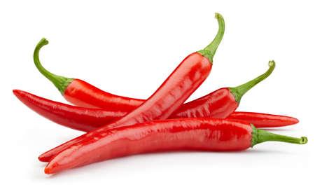 Foto für Peppers chili full macro shoot food ingredient on white isolated. - Lizenzfreies Bild