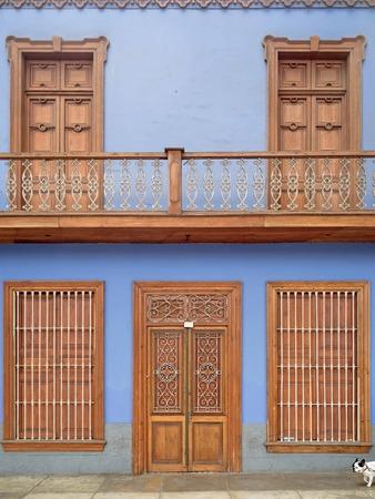 Historic blue house in Lima, Peru
