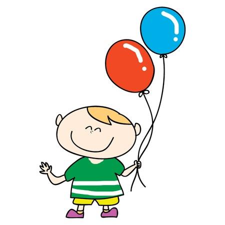 happy boy smile with balloons cartoon hand drawn illustration
