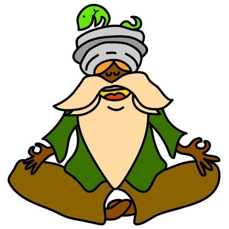 cartoon hand-drawn meditation illustration