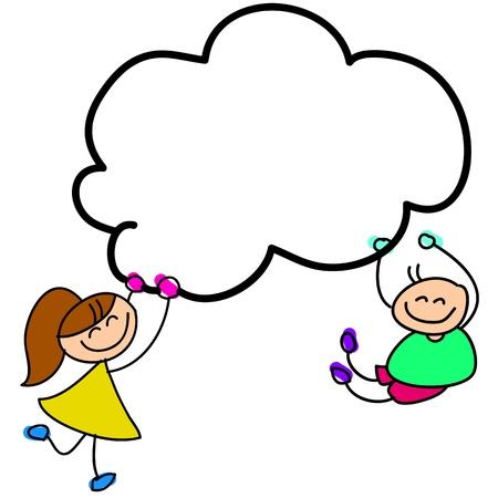 Illustration pour cartoon hand-drawn kids holding sky illustration - image libre de droit