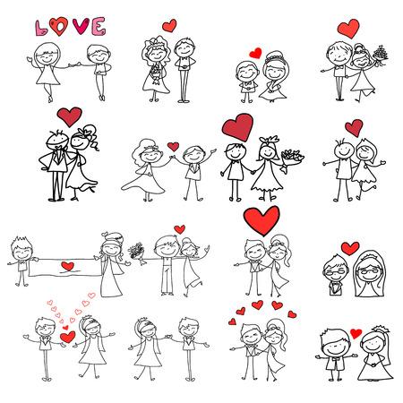 hand drawing cartoon happy couple wedding