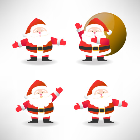 set of Santa Claus in different action vector illustration for Christmas celebrationのイラスト素材