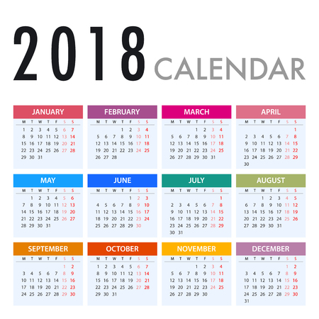 Calendar for 2018 on White Background. Week Starts Monday. Simple Vector Template